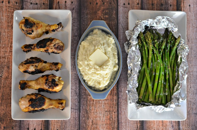 Keto Friendly Grilling Meals Hatch Green Chile Chicken Drumsticks, Mashed Cauliflower, Asparagus