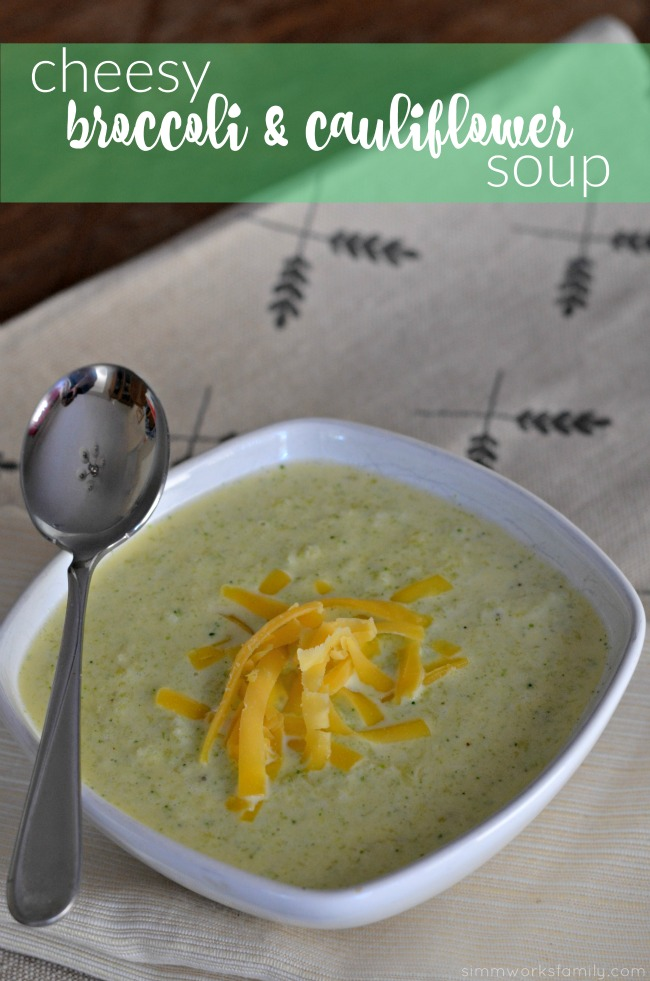 Low Carb Cheesy Broccoli and Cauliflower Soup